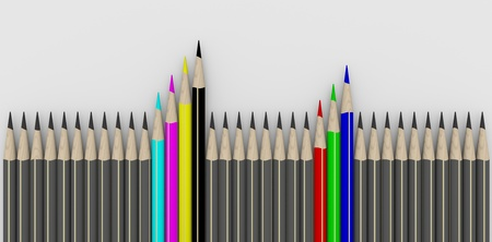 Row of gray pencils with RGB and CMYK pencils
