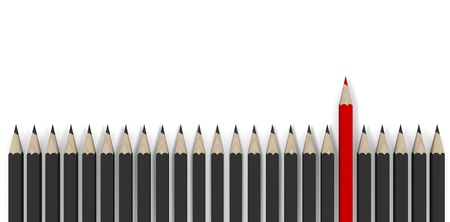 Leadership concept - row of gray pencils with red one  Stock Photo