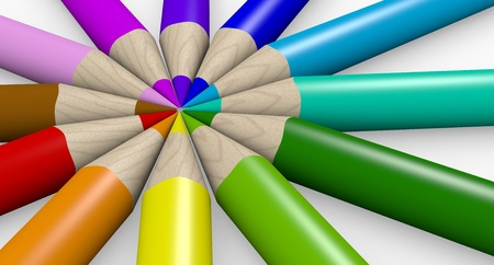 school of life: Many different colorful pencils on white background
