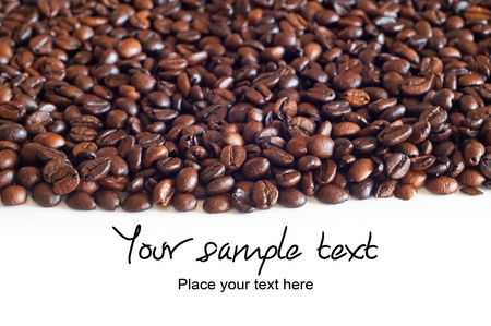 Brown coffee beans, background with text