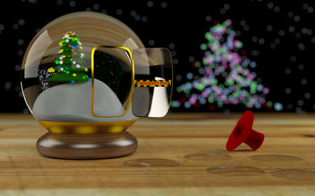 Snowman escaped from snow globe by emergency exit Stock Photo