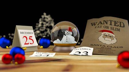 Wanted Santa Claus. Waiting Christmas. 3D render.