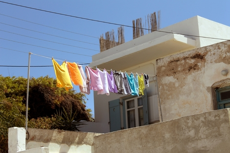 mediterranean home: colorful clothes hanging