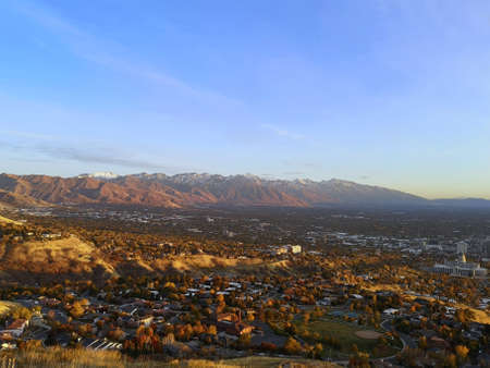 Salt Lake City view from Ensign Downs Park, Utah, United States