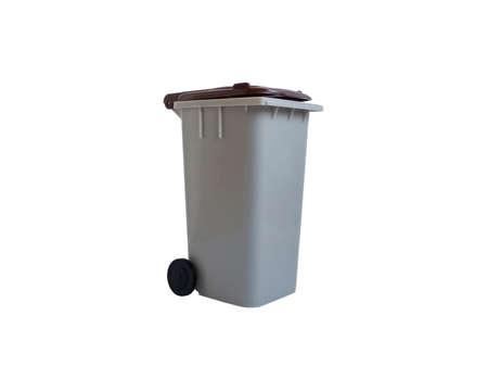 Gray and brown, organic waste trash bin. White background.