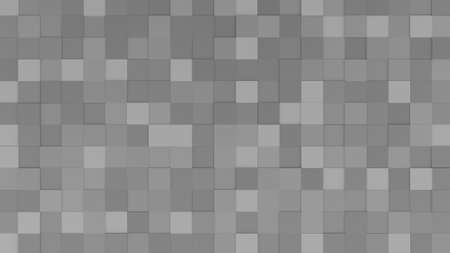 Three-dimensional gray cubes pattern. Abstract mosaic of grey colors extruded tile. 3D rendering.