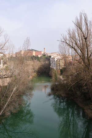 Riverside walk through the Jucar river in Cuenca, Spain.
