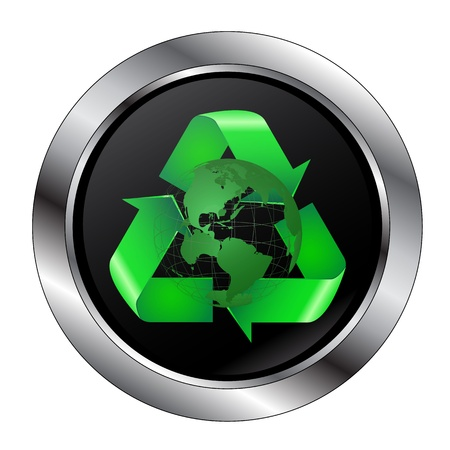 Recycle Symbol Button With earth and Large Rim Ilustração