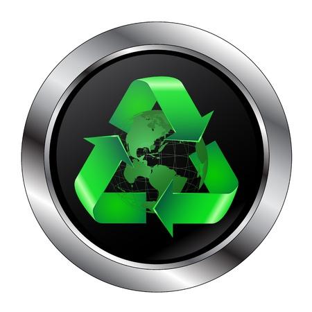 Recycle Symbol Button Around the Earth With Large Rim Ilustração