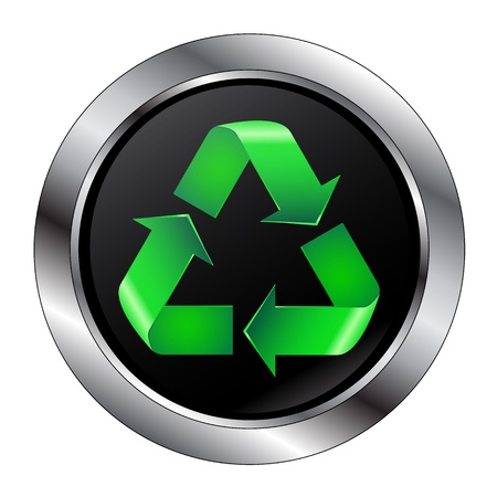 recycling campaign: Recycle Symbol Button With Large Rim