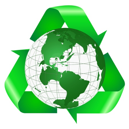 recycling campaign: Recycle Symbol Behind the Earth