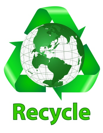 Recycle Symbol Behind the Earth with Words Recycle