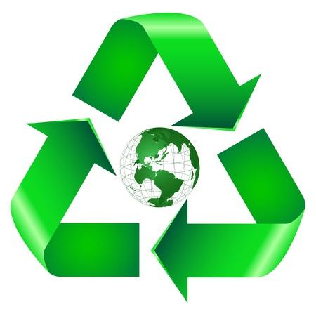 Recycle Symbol with Earth Ilustração