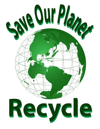 Save Our Planet - Recycle With Earth Vector