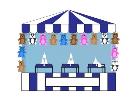 Milk Bottle Toss with Stuffed Bears Illustration