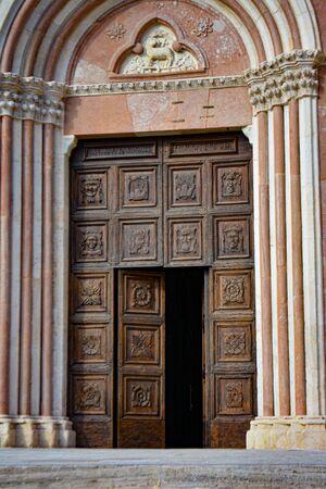LAquila, Abruzzo, Basilica of Santa Maria di Collemaggio, a religious symbol of the city, dating back to 1288