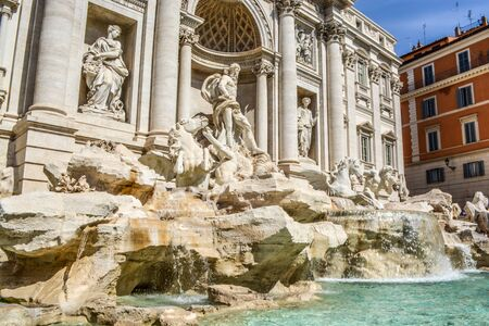 Rome, Italy. One of the most famous landmarks - Trevi Fountain (Fontana di Trevi). Stockfoto - 130681849