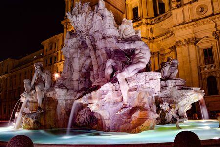 Rome. Navona Square on a beautiful summer night. Stock Photo