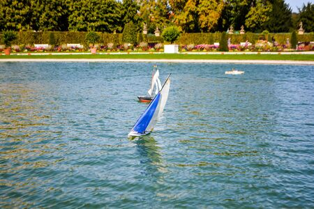 Sailboats on a lake at Ludwigsburg Castle