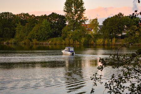 Little Boat on the River Neckar near Besigheim