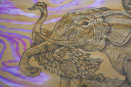 Animals fleeing from Noah's Arche