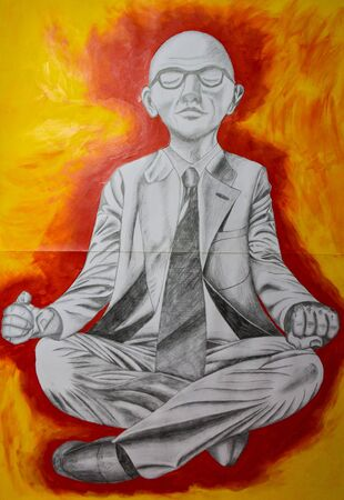 Man meditating in business clothes, under surface tensed