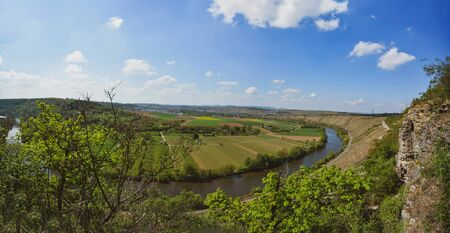 Vineyard overlooking the river Neckar, Landscape of Hessigheim, Germany - Panorama