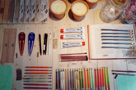 small articles: Stationery on wooden table