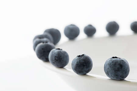 summer pudding: Fresh blueberrie on a white plate Stock Photo