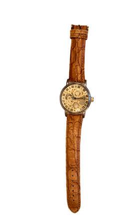 wrist watch: stylish wrist watch gold case isolated on white background.
