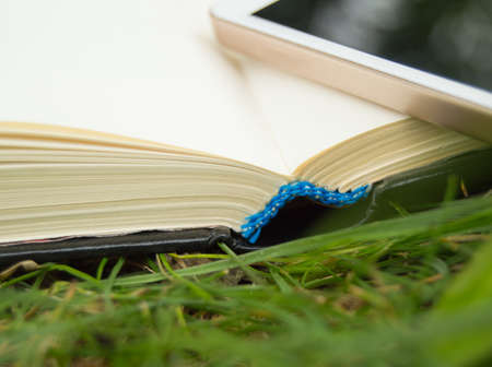back link: Books, smartphone on a green grass background, concept of education and training Stock Photo