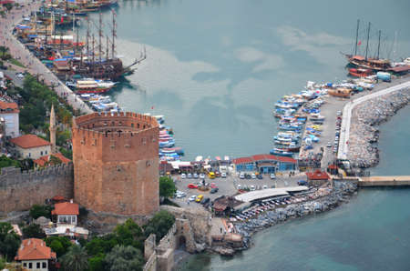 castle district: Beautiful panorama of the Bay of Antalya, old harbour and tower