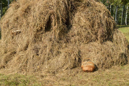 Wicker picnic basket and a haystack - beautiful rural background in Sunny summer day Stock Photo