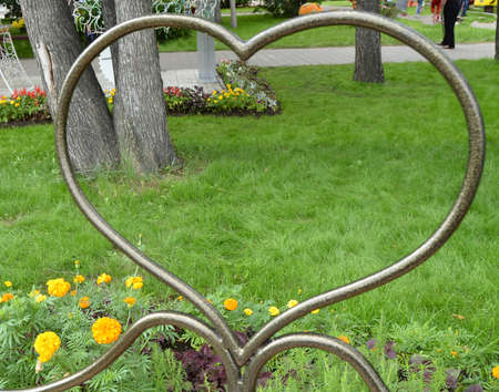 Metal pattern heart symbol, look through the heart on the grass, Park, Valentines day.