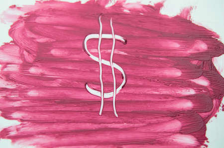 painted the dollar sign on the texture of the sample smear lipstick.