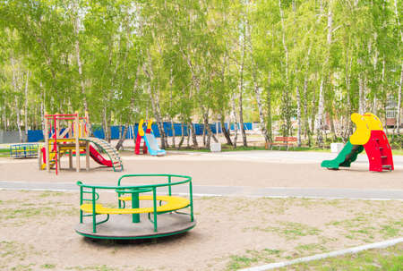 Colorful childrens Playground in the Park. Summer, vacation, nobody