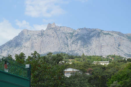 View of AI-Petri mountain in the Crimea, the resort village Miskhor at the foot of the mountain Stock Photo