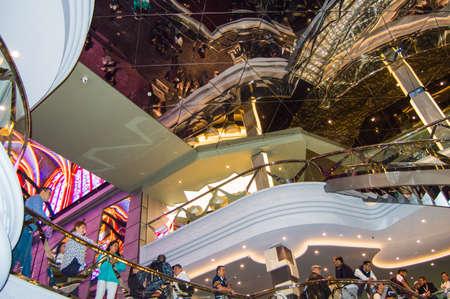 Luxurious shiny interior of the cruise ship MSC Meraviglia, October 2018