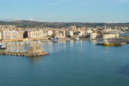 Panoramic view of Civitavecchia port, coast, port, buildings, October 7, 2018 Éditoriale