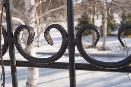 Beautiful decorative cast iron wrought iron fence with artistic forging, close - up on snow background