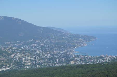 Panorama of the resort city of Yalta from AI-Petri mountain, Russia, Crimea, 01.06.2018 Stock Photo