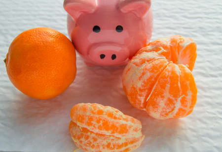 Chinese New year with copy space, piggy Bank and tangerines on white background.