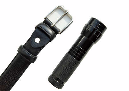 Men's accessories black leather strap and flashlight isolated on white background. 版權商用圖片