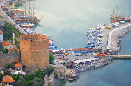 Beautiful panorama of the Bay of Antalya, old harbour and tower.