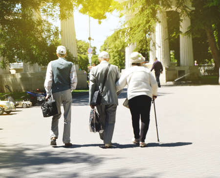 Rear view of happy senior couple with their friend by the pensioner during a walk in the Park.
