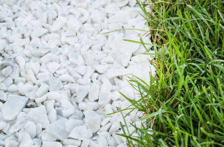 Natural background - path of white stones, next to the green grass lawn, top view.