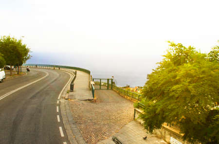 Beautiful view of the sea in Naples, the road along the promenade, summer Sunny day.