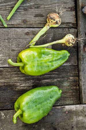 Two green raw bell peppers on an old dark wooden Board, water drops on organic fresh vegetables, vegetarian diet and nutrition concept, top view, vertical frame.