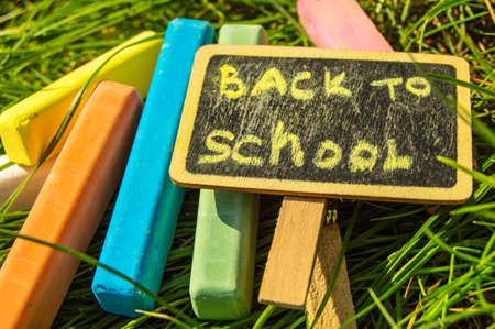 Back to school, the inscription on the mini-Board, the layout of the Board and chalk on the green grass, the concept of preparation for school. Copy space Banco de Imagens