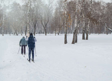 Two elderly people skiing with ski poles in the winter Park.Active rest and sports for pensioners, Healthy lifestyle. Back view.
